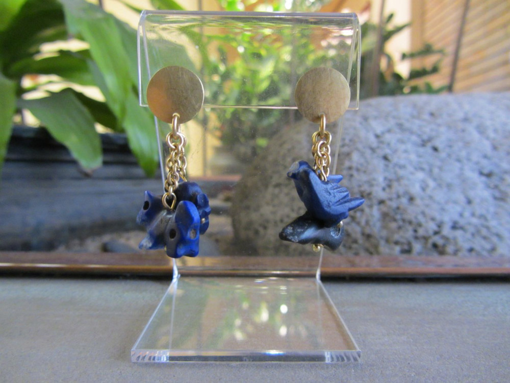 Egyptian Lapis Lazuli Earrings, Five Animal Amulets on Xanadu Gallery